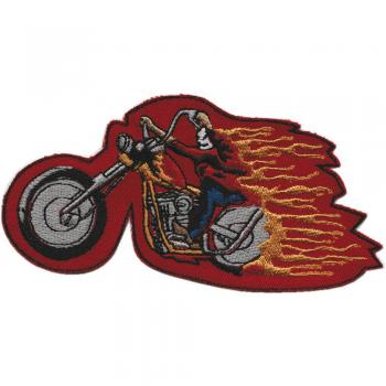 Aufnäher - Chopper in Flammen - 04925 - Gr. ca. 15 x 8 cm - Patches Stick Applikation