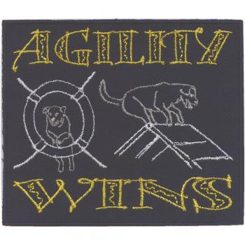 "AUFNÄHER ""Agility wins"" NEU Gr. ca. 8cm - 11cm (04578) Patches Stick Applikationatches Stick Applikation"