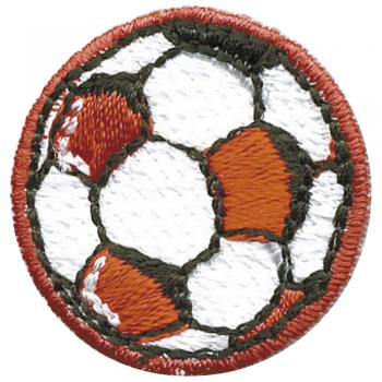 Aufnäher - Fussball rot - 02087 - Gr. ca. Ø 3 cm - Patches Stick Applikation