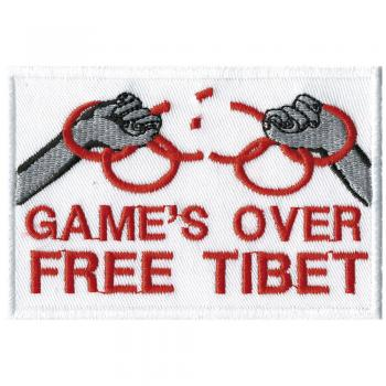AUFNÄHER - Games over Free Tibet - 01891 - Gr. ca. 8,5 x 5,5 cm - Patches Stick Applikation