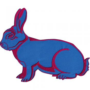 Aufnäher - Hase blau-rot - 07347 - Gr. ca. 26 x 20 cm - Patches Stick Applikation