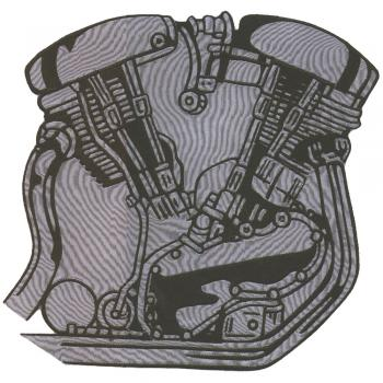 Rückenaufnäher - Motor - 08039 - Gr. ca. 25 x 25 cm - Patches Stick Applikation