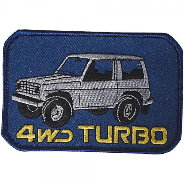 AUFNÄHER - Oldtimer 4WD Turbo - 04267 - Gr. ca. 11 x 7 cm - Patches Stick Applikation