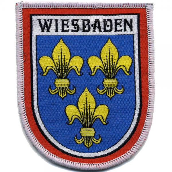 AUFNÄHER - Wappen - Wiesbaden - 00466 - Gr. ca. 8 x 6,5 cm - Patches Stick Applikation