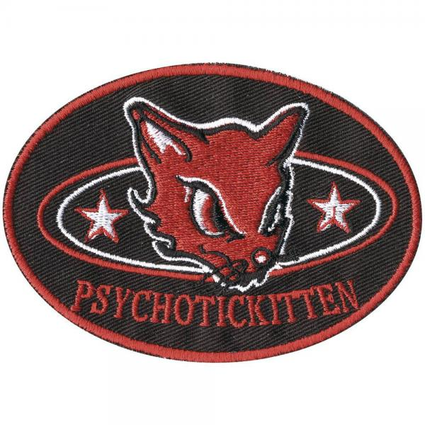 Aufnäher - Psycho Katze - 00364 - Gr. ca. 9 x 6 cm - Patches Stick Applikation