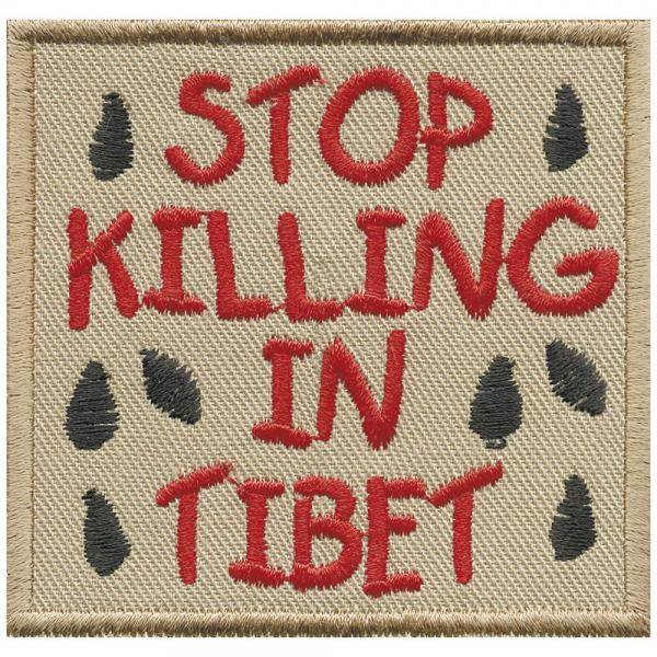 AUFNÄHER - Stop Killing in Tibet - 01889- Gr. ca. 7,5 x 7 cm - Patches Stick Applikation