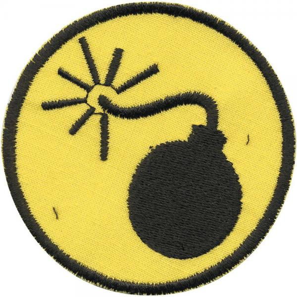 AUFNÄHER - BOMBE Explosiv - Gr. ca. 7cm (01918) Patches Stick Motivstick Applikation